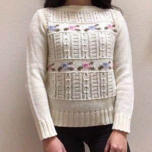 Vintage 80's/90's Pastel Floral Knit Cream Sweater